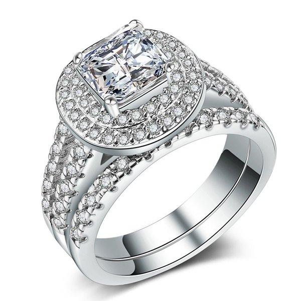 Klasik Kadınlar 2 Adet Diamonique Cz Nişan Takı Altın Dolgulu Düğün Çift Yüzük Kadın Erkek Lover için Promise Hediye Boyutu 6-10