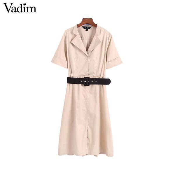 Vadim mujeres elegante sólido mini vestido fajas bolsillos cintura elástica manga corta plisada femenina elegante vestidos QA350