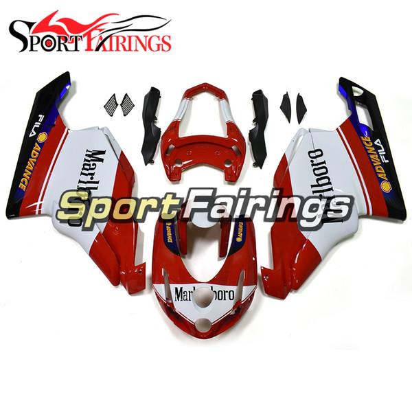 Cascos de alta calidad rojos blancos aptos para 2003 - 2004 Ducati 999/749 Biposto Cascos de plástico completos de alta calidad 2003 - 2004 Kits de carrocería