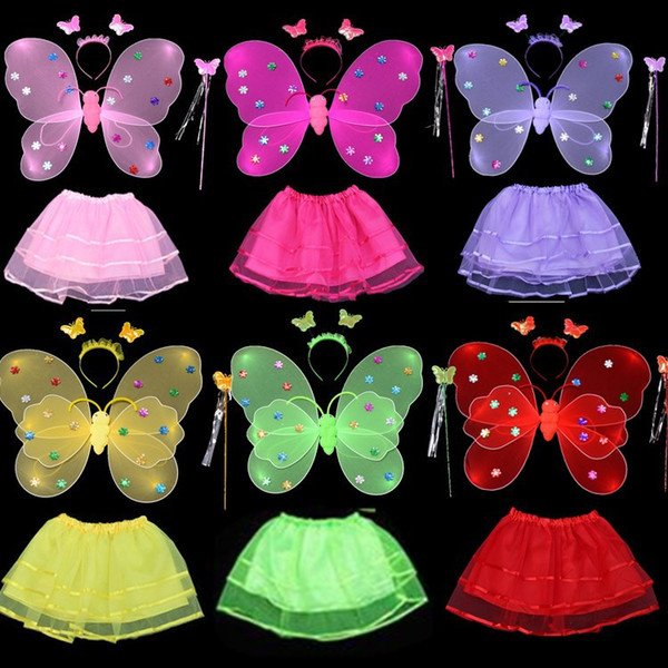 4pcs/set Kids Girls Fairy Cosplay Costumes Set for Halloween Carnival Christmas Party Gift Butterfly Wing +Wand +Headband +Tutu Skirts