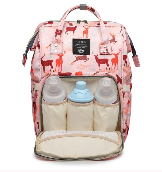 Lequeen Мумия рюкзак олень pattern многофункциональный детские пеленки рюкзак мама изменяя сумки подгузник мать материнства рюкзаки MPB57