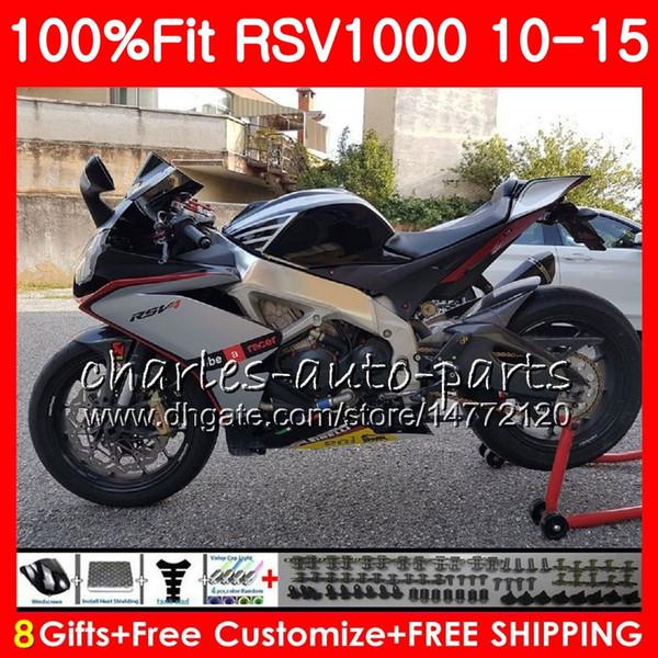 Silver black Injection For Aprilia RSV1000RR RSV1000R 2010 2011 2012 2013 2015 77HM.19 RSV 1000 R RSV4 RSV1000 10 11 12 13 14 15 Fairing kit