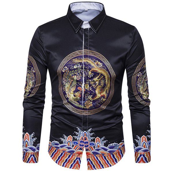 Summer Han Fu Mens Long Sleeve Shirts Chinese Style Traditional Dragon Robe Chinese Emperor Clothing Fashion Blouse Plus Size