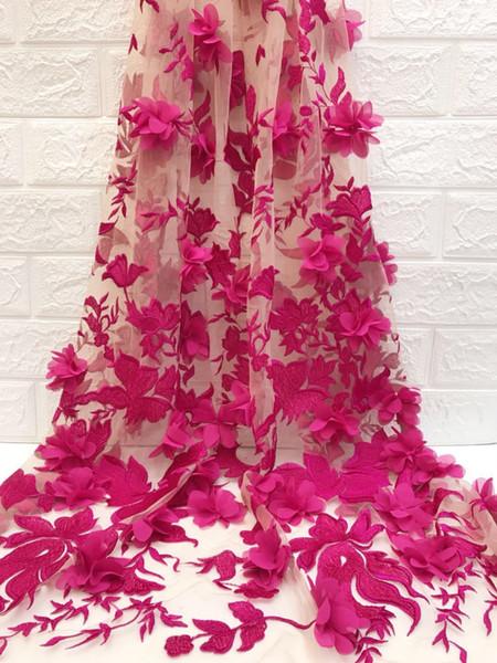 Neueste Beliebte Designs 3 d blumen spitze Stoff rosa samt Afrikanisches Spitzegewebe Hohe Qualität 3 d blumen seide George spitze stoff