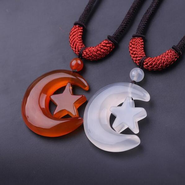 natural transparent star moon Chalcedony Sweater chain agate Chalcedony jade pendant with certificate china