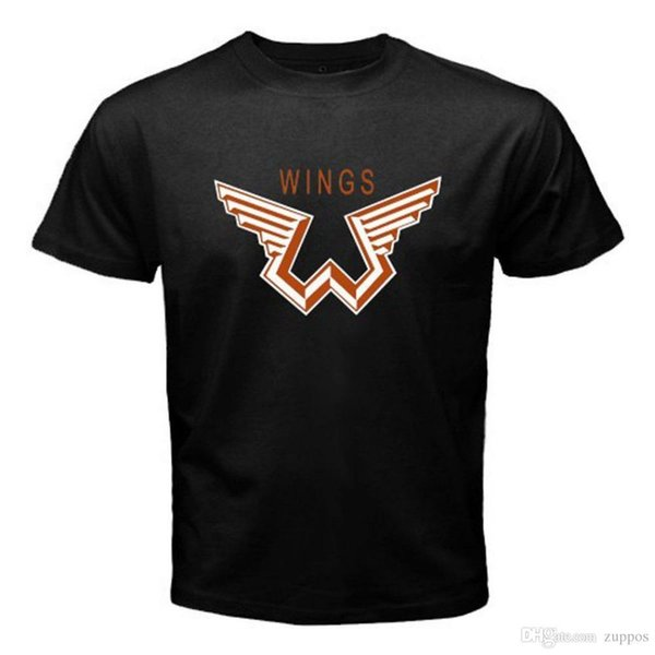 2018 Summer Style Camiseta Paul McCartney and Wings Logo Tshirt Cotton Tee Camiseta hombre Black Size S - 3XL