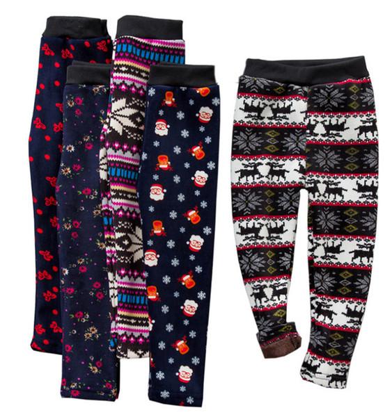 19 Stil Kız Ince Artı Kadife Sıcak Pantolon Tayt Tayt Pantolon Çocuklar Noel Kar Tanesi Örme Sıcak Çorap Pantolon Bebek Giysileri
