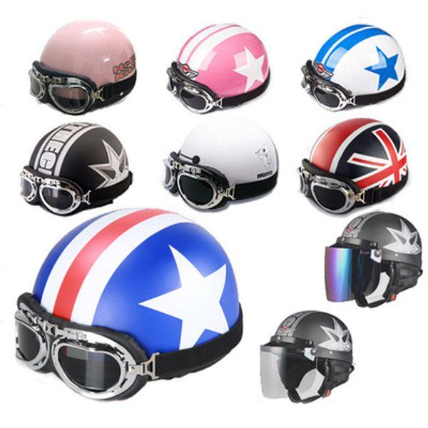 2018 New arrival hot selling Vintage Open Face Half Motorbike Helmet Goggles Visor Motorcycle Helmet for men and women