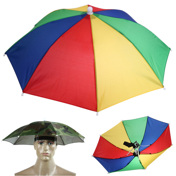 Portable Usefull Umbrella Hat Sun Shade Waterproof Outdoor Camping Hiking Fishing Festivals Parasol Foldable Brolly Cap 55cm c495