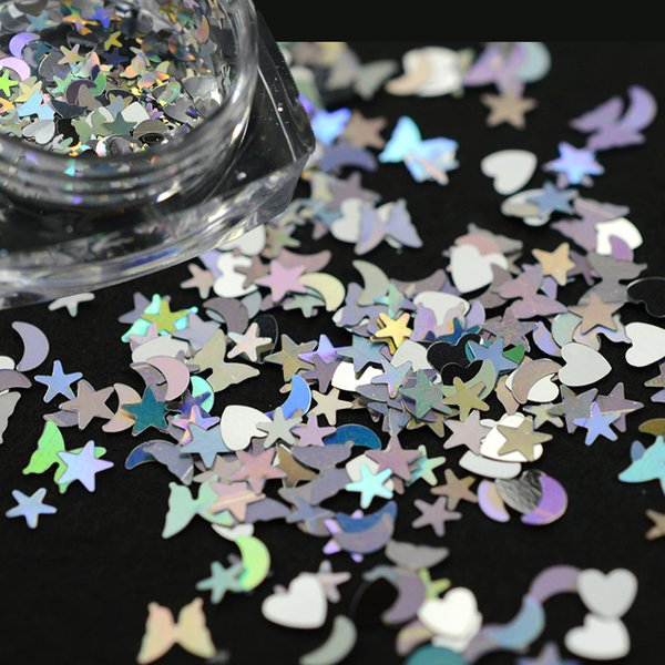 1 bottle 3D Shinning Nail Sequin Lucky Star/Moon/Heart DIY Paillette for Nails Tips Face Nail Art Decor 3D Beauty Flakes CHLX13