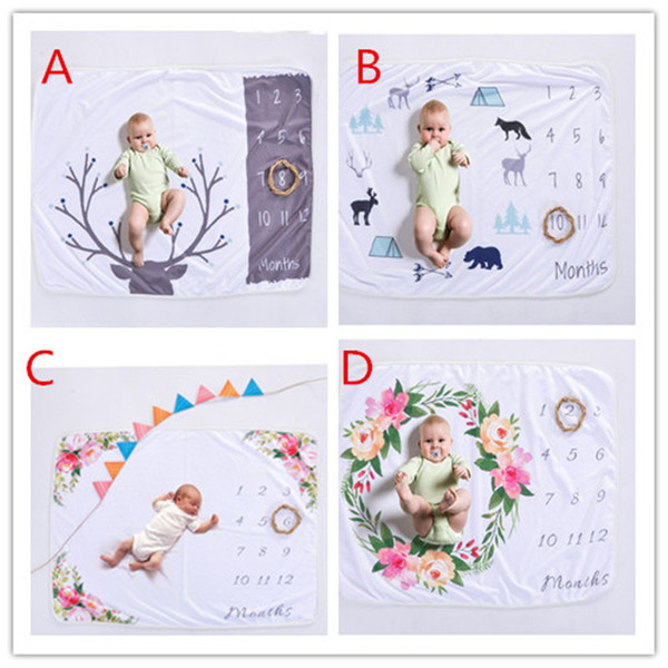 Xmas 76*102CM newborn photography background props baby photo prop fleece floral deer printed backdrops infant swaddle blankets wraps soft B