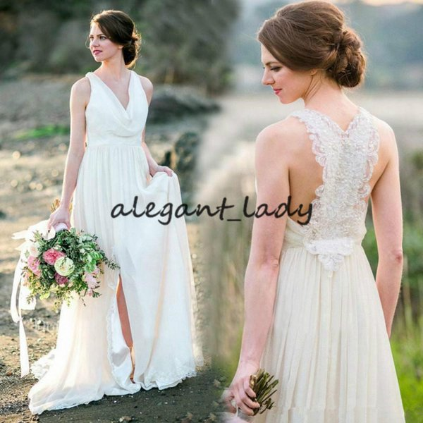 2018 Country Wedding Dresses V Neck Lace Sexy Back Bridal Gowns Spring Summer Side Split Chiffon A Line reception Dress