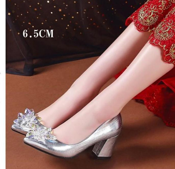 Free send 2018 spring and autumn Korean high heeled women's shoes pointed end Coarse heel Single shoes New style shoes heel 8.5cm ,6.5cm