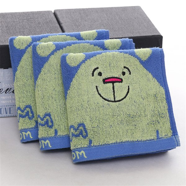 High quality hot sale yarn dyed cute bear design high color fastness and water absorption 100% cotton face towel