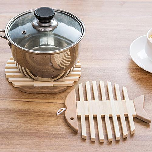 Wholesale- Heat Resistant Fish Fruit Shape Bamboo Kitchen Bowl Pot Kettle Table Mat Coaster