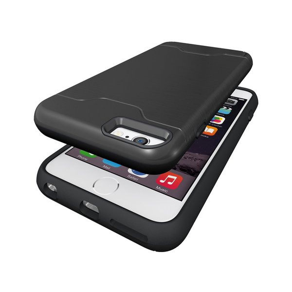 hot mobile cell phone Luxury holder Kickstand Shockproof hard Wallet protect cover Brushed Card case for iphone 6 6s plus 5.5