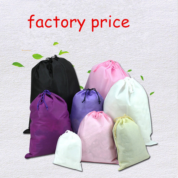100pcs 2 ropes Non woven clothes Storage Dust bag Packaging for handbag Travel Sundries storage Pull rope drop shipping custom