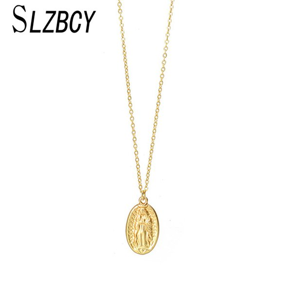 SLZBCY Women Gold Color Long Chain Necklaces Alloy Jesus Pendant Necklace Chokers High Quality Fashion Jewelry Collar de mujer