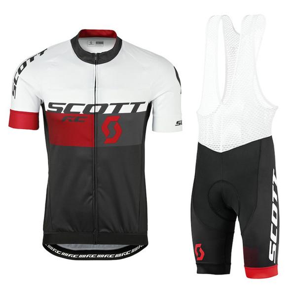 Ropa ciclismo 2019 Scott Ciclismo Manica Corta Abbigliamento Bicicletta Uomo Jersey MTB Bib Shorts set estate quick dry sport all'aria aperta adatta Y052911