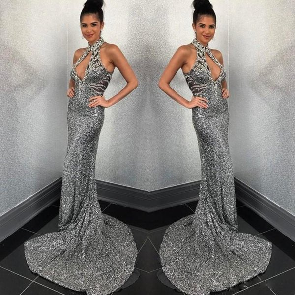 Sexy Gray Sliver Sequin Mermaid Evening Dresses High Neck Beads Zipper Back Red Carpet Dress Sweep Train Long Evening Party Gowns