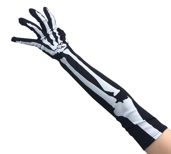 New Halloween Hand-bone Gloves Skull Long Section Five Fingers Gloves Sleeves Finger Gloves Halloween Costumes Props