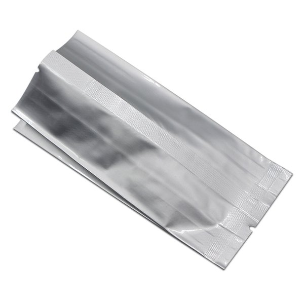 50Pcs/ Lot Pure Aluminum Foil Side Gusset Bags Open Top Heat Seal Bellows Mylar Foil Vacuum Package Bags for Snacks Nuts Storage