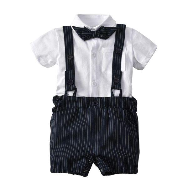Chicos de verano Pajarita + Camisas de caballero + Pantalones cortos de tres piezas Trajes para bebés recién nacidos Juegos de ropa para bebés H393