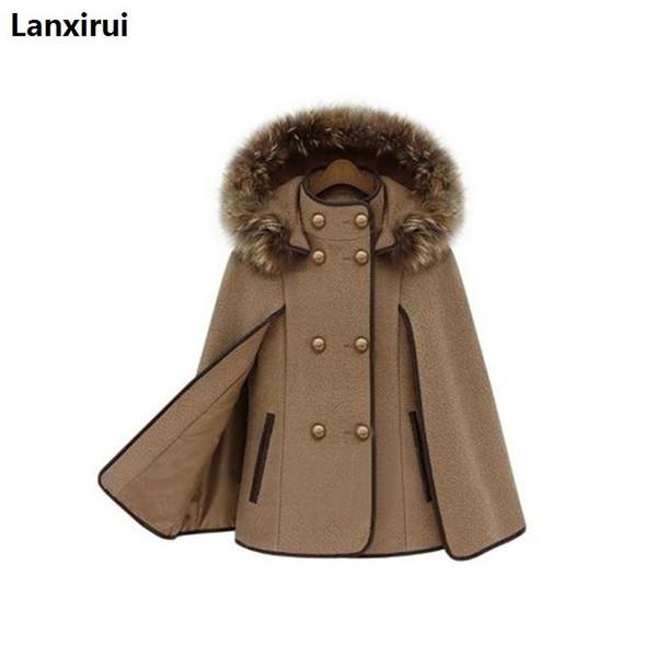 Europe And America Fashion Hooded Detachable Fur Collar Shawl Coat Winter New Women 'S Cloak Camel Wool Jackets Coat Female D18111403
