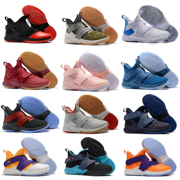 the best attitude fc1d9 b8205 2018 Top LeBron Soldiers XII 12 Basketball Shoes Men LeBrons 12  Gold Championship MVP Finals