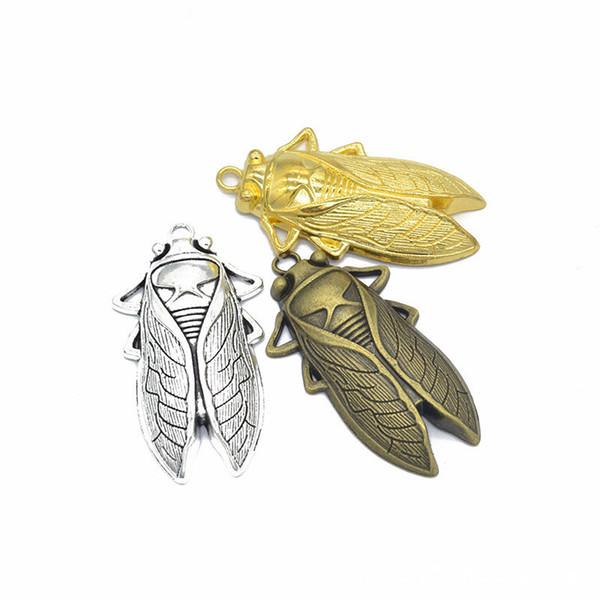 50 pcs / lot Grand pendentif breloques cigale - 61x34mm Grand pendentif avec cigale vénérée - argent antique, bronze, or
