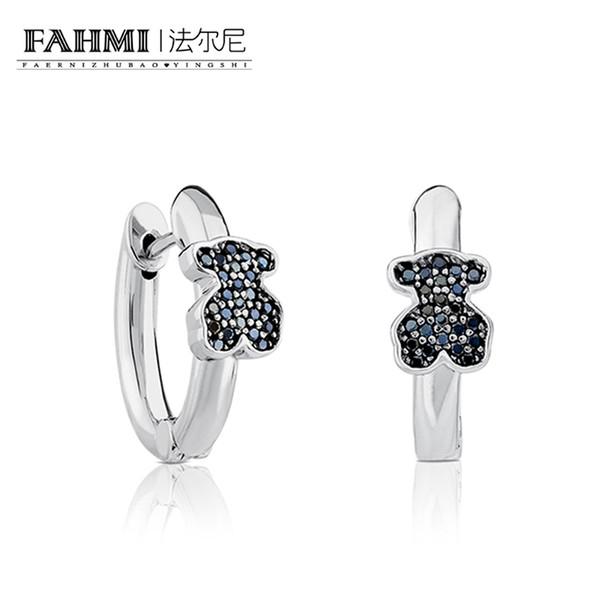 FAHMI 100% 925 Ayar Gümüş Kristal Zarif Zarif Glamorous Siyah Mücevher Ayı Inci Küpe Orijinal Charm Kadınlar Büyüleyici