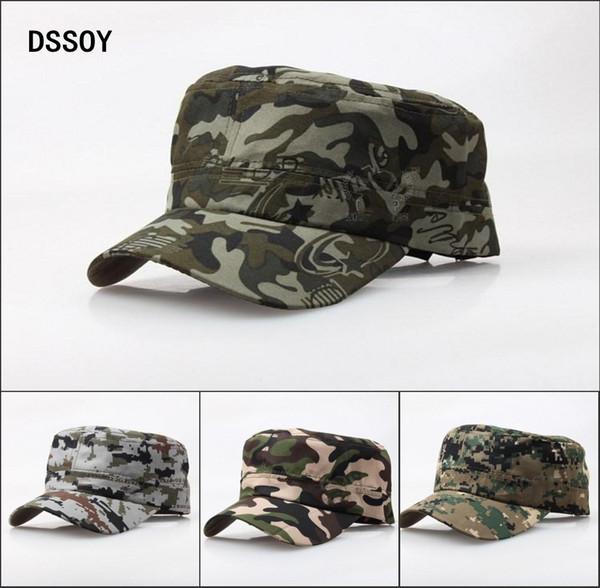 Cappelli militari del cotone della pianura del progettista di qualità per gli adulti Cappucci dell'esercito del cammuffamento in bianco delle donne degli uomini di estate Uomo di cotone della donna Sport Visiera di Sun Vendita