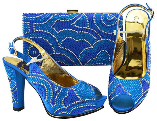 Nice looking royal blue women pumps with rhinestone design bag for dress african shoes match handbag set JZS-01