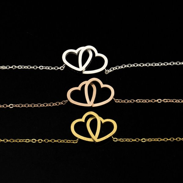10PCS Fashion Double Heart Shaped Stainless Steel Hand Chain Couple Bracelet for Women Men Gold-color Bangle Party Jewelry
