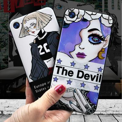 Für iphone7 iphone 6 6s fällen klare handy cartoon schwarz cool girl deckt transparente mode handy zubehör