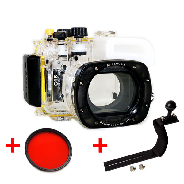 Underwater Waterproof Housing Diving Camera Case Bag for Canon G16 Camera With 67mm Red filter + Long Arm Handle Bracket