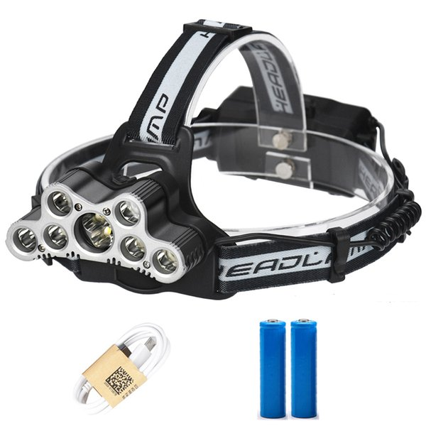 9 CREE LED Led Headlamp Headlight Head Flashlight Torch USB Rechargeable head lamp 18650 high power led torch head flashlight+2 18650+Cable