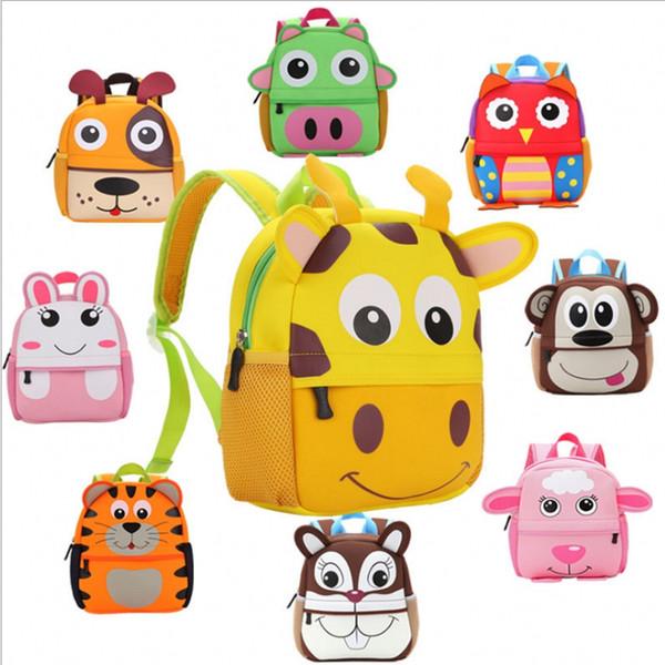 Lovely Cartoon Animals Backpack For Girls And Boys Hot Sale Korean Style Printed Zipper Students Travel Bag Children School Bag