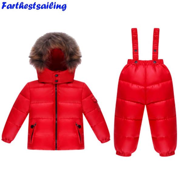 Зима дети вниз костюм белая утка вниз утолщение куртка + брюки Комбинезон из двух частей детская одежда набор мальчиков девочка лыжные костюмы