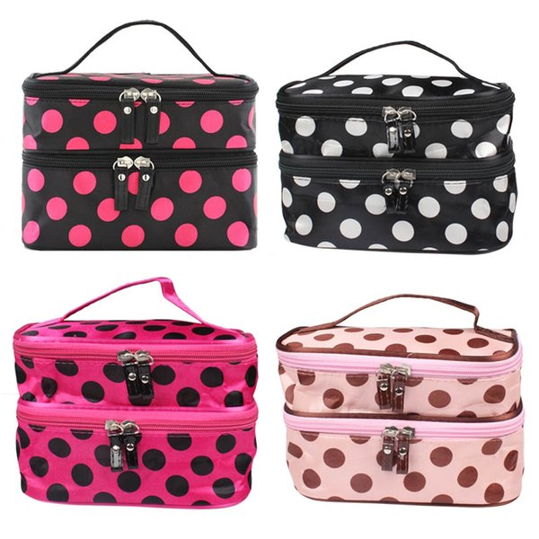 Portable Women Dot Large 2 Layers Make-up Cosmetic Set Beauty Case Toiletry Bag Popular