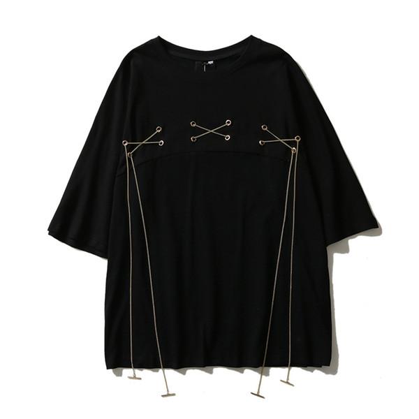 Panda chino patrón de impresión de manga corta de algodón suelta cuello redondo T-shirts s ocio ropa de la calle medias mangas