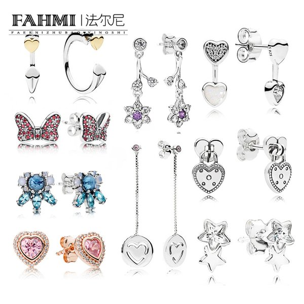 FAHMI 100% 925 Sterling Silver Charm Bow Red CZ Stud Earrings Charms Bead Patterns of Frost Stud Earrings Hearts of Love