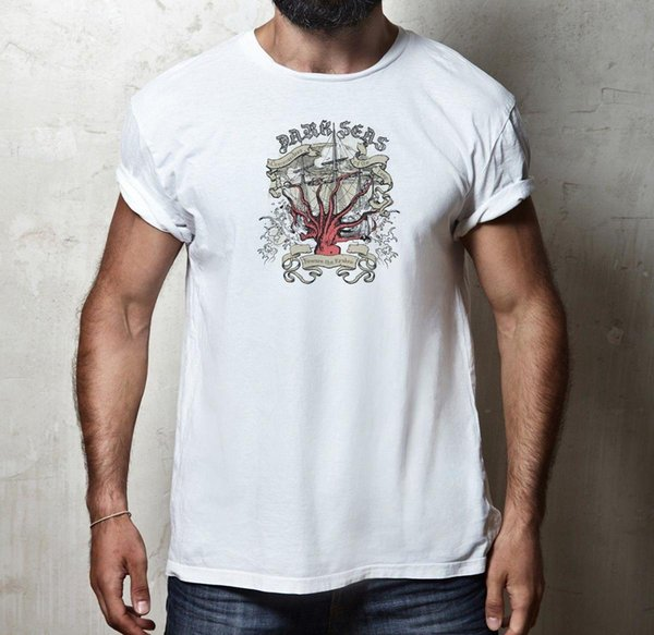 ESCURO SEAS OCTOPUS KRAKEN T-SHIRT 100% ALGODÃO OCEANO MAR MONSTER VELA T-Shirt Casual Manga Curta Para Homens Roupas de Verão