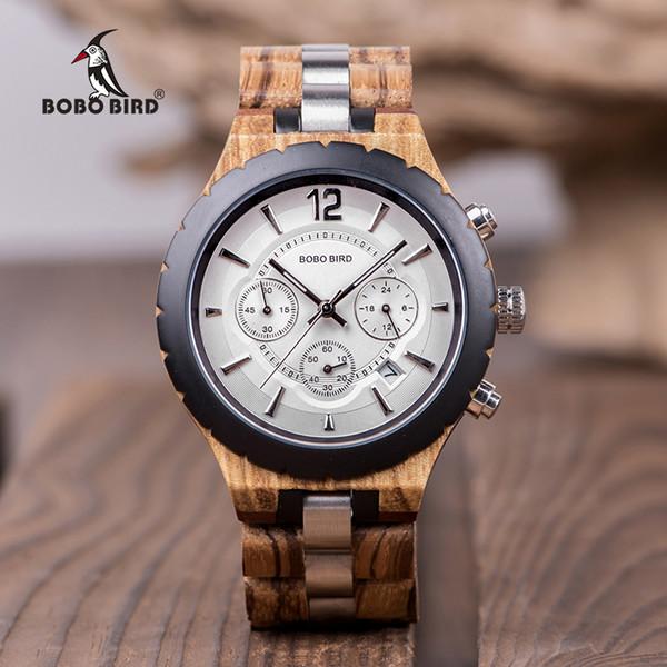 18d9e1d5028 BOBO PÁSSARO Relógio De Madeira Dos Homens de Negócios Relógios Cronógrafo  Parar Com Correia De Aço