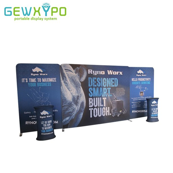 20ft Exhibition Booth High Quality Tension Fabric Backwall Display With Single Side Printed Banner And Two Portable Oval Table