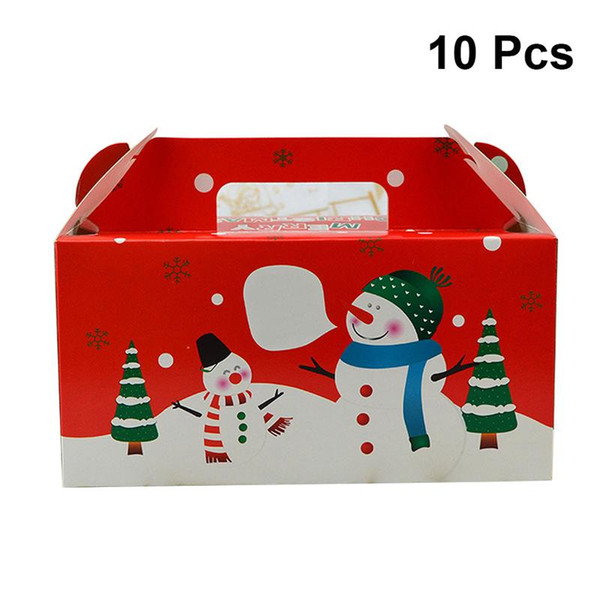 10pcs 12 x 20 x 10cm with Handle Muffin Bakery Portable Cupcake Boxes Containers for Xmas Favors Cupcake Birthday Party Cake