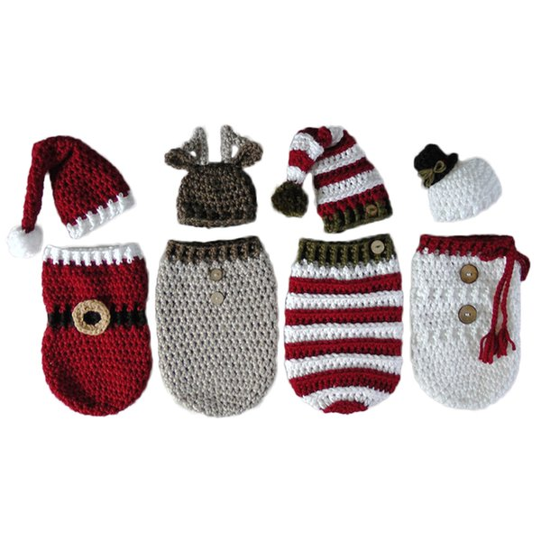 Newborn Baby Crochet Knitted Photography Wrap Christmas Bebe Santa Elk Sleeping Bag +Hat Xmas Costumes Photo Props Accessories