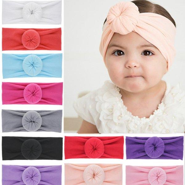 Bebe Round Knot headbands Elastic Wide Donut hairwraps Fabric cotton Girls Nylon Turban bows Hair Accessories JLE154