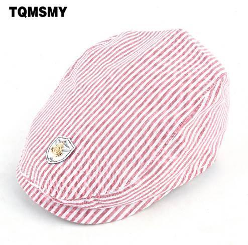 Unisex Cotton stripe Beret Kids Cap Children Hat Baby Berets Boy Flat cap Solid color bone Girls newsboy caps hats for boy boina