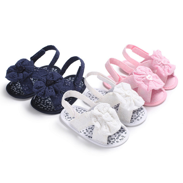 New Summer Baby Shoes Toddler Girls Sandals Cute Bow-knot Princess Shoes Anti-slip Bottom Suit for 0-18 Month Cotton Fabric